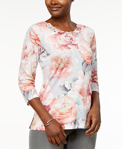 Alfred Dunner Petite Lakeshore Drive Embellished Printed Top