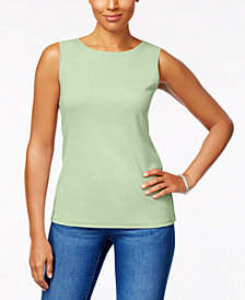 Karen Scott Cotton Sleeveless Crew-Neck Top, Created  for Macy's