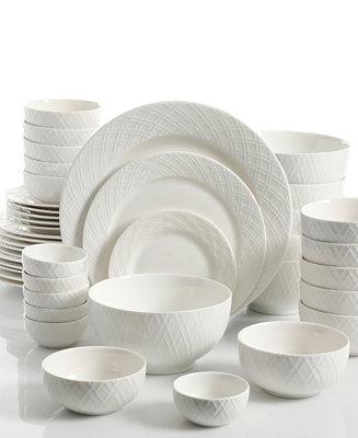 Gibson White Elements Lexington 42 Pc Dinnerware Set