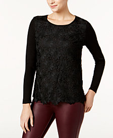 Charter Club Lace-Front Sweater, Created for Macy's