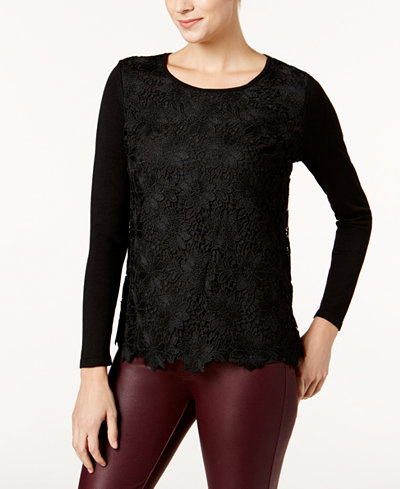 Charter Club Petite Lace-Front Sweater, Created for Macy's