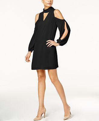 Vince Camuto Split-Sleeve Cold-Shoulder Choker Dress