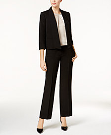 Kasper Open-Front Jacket, Charmeuse Blouse & Straight-Leg Pants