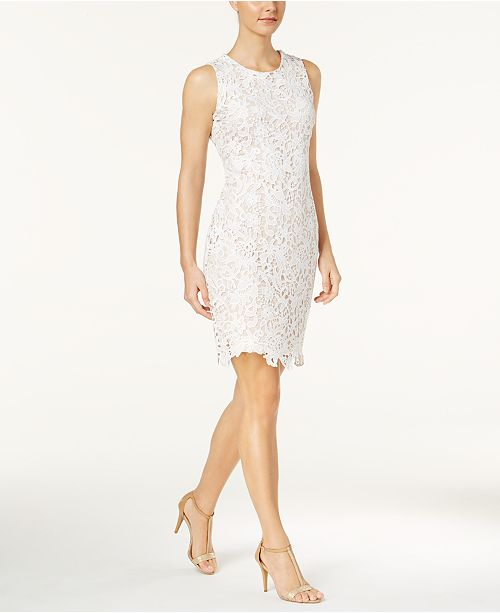 f4371af6fcb6 Calvin Klein Lace Sheath Dress   Reviews - Dresses - Women - Macy s
