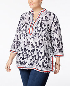 Charter Club Plus Size Cotton Printed Tunic, Created for Macy's