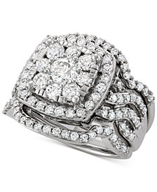 Diamond 3-Pc. Cluster Bridal Set (2-1/2 ct. t.w.) in 14k White Gold