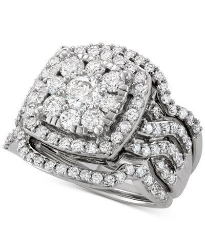 Diamond 3-Pc. Cluster Bridal Set (2-1/2 ct. t.w.) in 14k White Gold