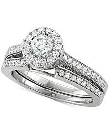 Diamond Halo Bridal Set (1-1/10 ct. t.w.) in 14k White Gold
