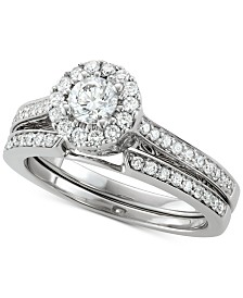 Diamond Halo Bridal Set (1-1/10 ct. t.w.) in 14k White Gold