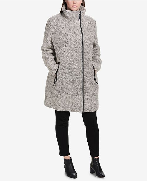 a9e5ca3999a ... Calvin Klein Plus Size Faux-Leather-Trim Asymmetrical Walker Coat ...