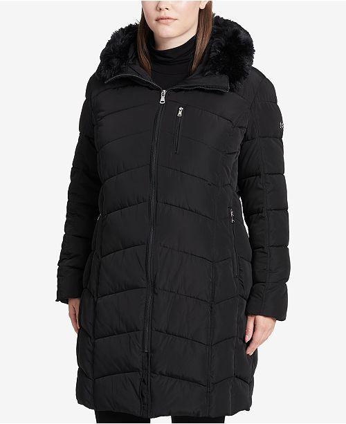 c8802b0d2f68a Calvin Klein Plus Size Faux-Fur-Trim Hooded Puffer Coat   Reviews ...