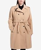 Calvin Klein Plus Size Double-Breasted Walker Coat