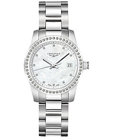 Longines Men's Swiss Conquest Diamond (1/2 ct. t.w.) Stainless Steel Bracelet Watch 34mm