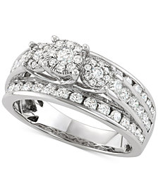 Diamond Triple Cluster Channel-Set Engagement Ring (1-1/2 ct. t.w.) in 14k White Gold