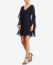 Lauren Ralph Lauren Sheer-Cape Crepe Dress