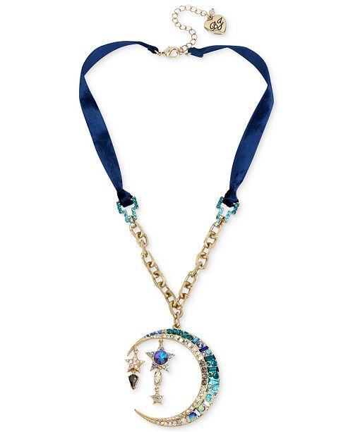 Betsey Johnson Gold-Tone Multi-Stone Moon & Star Pendant Blue Velvet Necklace