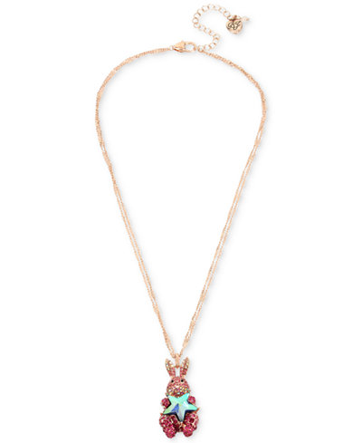 Betsey Johnson Two-Tone Pink Pavé & Imitation Pearl Bunny Pendant Necklace