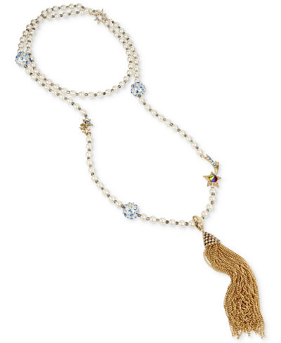 Betsey Johnson Gold-Tone Multi-Stone Star & Imitation Pearl Chain Tassel Pendant Necklace