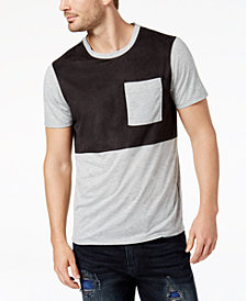 GUESS Men's Colorblocked Faux-Suede Panel T-Shirt