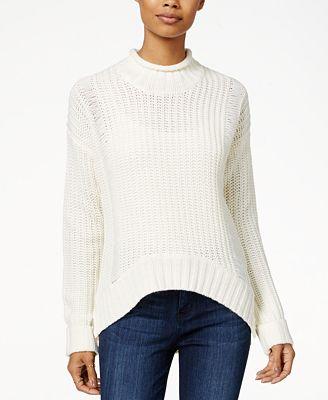 Planet Gold Juniors' Mock-Neck Pullover Sweater - Juniors Sweaters ...