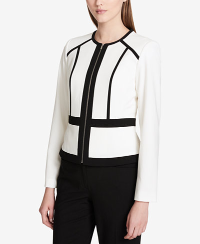 Calvin Klein Contrast-Trim Collarless Jacket, Regular & Petite