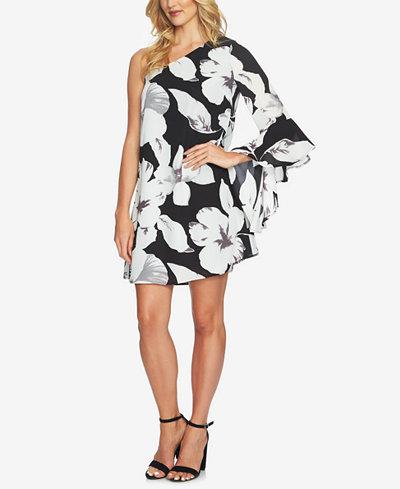 CeCe Floral-Print One-Shoulder Dress
