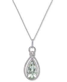 Green Amethyst (3 ct. t.w.) & White Topaz (1/2 ct. t.w.) Teardrop Pendant Necklace in Sterling Silver