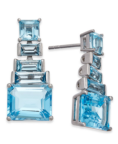 Blue Topaz Ladder Dangle Earrings (7 ct. t.w.) in Sterling Silver