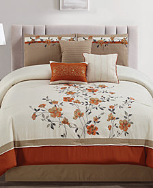 Judith Spice 7-Pc. Embroidered Queen Comforter Set