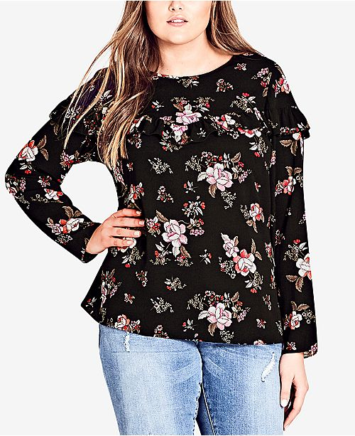 City Chic Trendy Plus Size Floral-Print Ruffle Top