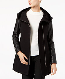 Calvin Klein Faux-Leather-Sleeve Jacket