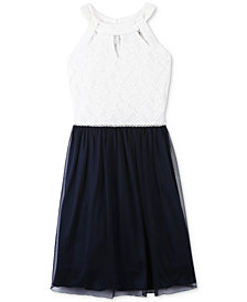 Speechless Embellished Lace-Bodice Dress, Big Girls
