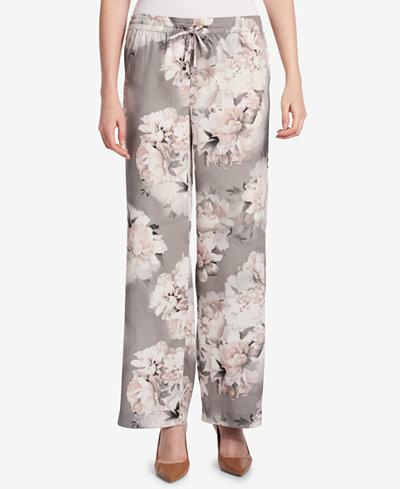 Calvin Klein Printed Wide-Leg Soft Pants