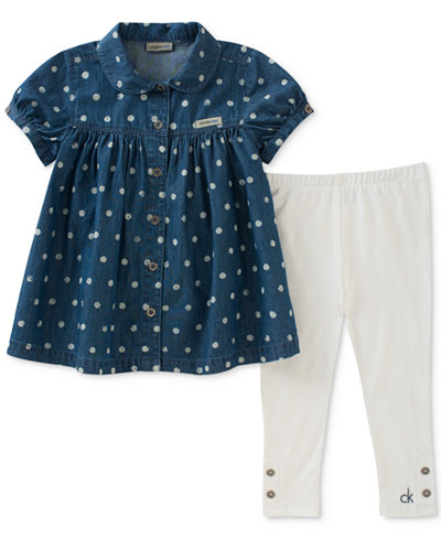Calvin Klein 2-Pc. Denim Tunic & Leggings Set, Little Girls