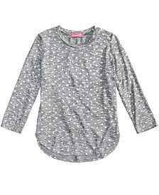 Tinsey Heart-Print Marled Hacci Top, Big Girls