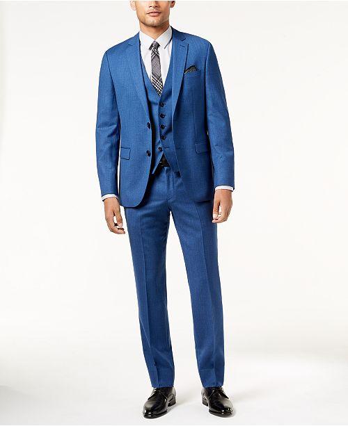 ab31353f9 ... Vested Suit; Hugo Boss HUGO Men's Slim-Fit High Blue Textured Vested ...