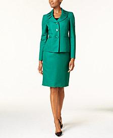 Le Suit Ruffle-Collar Skirt Suit, Regular & Petite