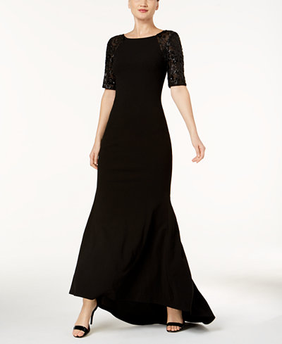 Calvin Klein Sequined-Sleeve V-Back Gown