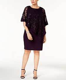 Plus Size Sequined Lace Cape Dress