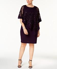 ffc663c4a0f XSCAPE Plus Size Beaded Chiffon Popover Dress   Reviews - Dresses ...