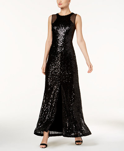 Calvin Klein Mesh & Sequined Slit Gown