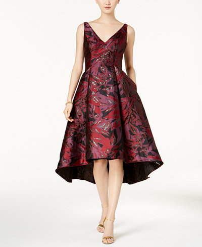 Adrianna Papell Petite Floral Jacquard High-Low Dress