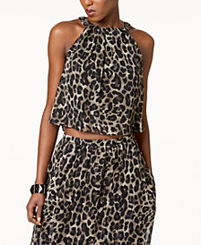 SL Fashions Metallic-Stripe Animal-Print Top