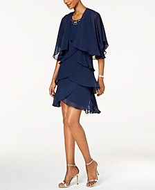 Embellished Tiered Chiffon Dress & Capelet
