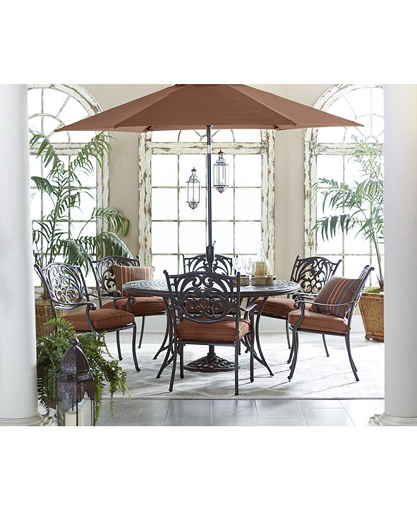 """Furniture Chateau Outdoor Cast Aluminum 7-Pc. Dining Set (60"""" Round Dining Table and 6 Dining Chairs), Created for Macy's"""