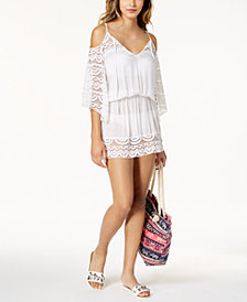 Raviya Lace-Insert Cold-Shoulder Dress Cover-Up