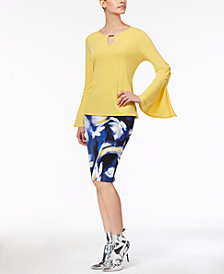 Thalia Sodi Embellished Bell-Sleeve Top & Printed Scuba Pencil Skirt, Created for Macy's