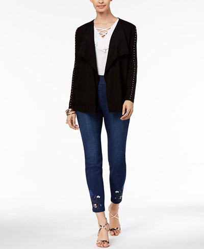 Thalia Sodi Studded Cozy Cardigan, Lace-Up Top & Embroidered Skinny Jeans, Created for Macy's