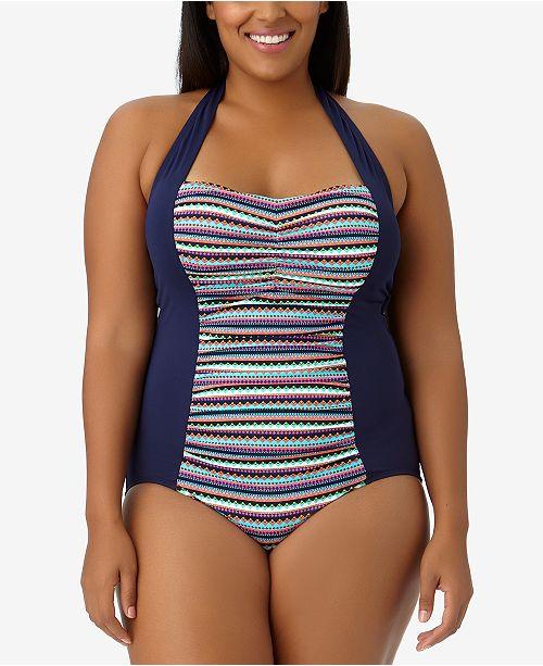 bdf06ec5072 Anne Cole Plus Size Friendship Bracelet Halter One-Piece Swimsuit ...