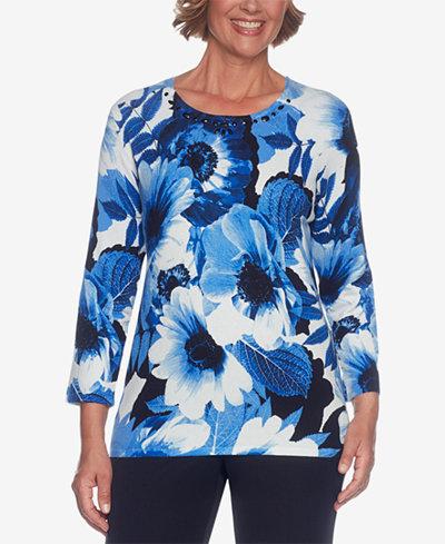 Alfred Dunner High Roller Petite Embellished Floral-Print Sweater